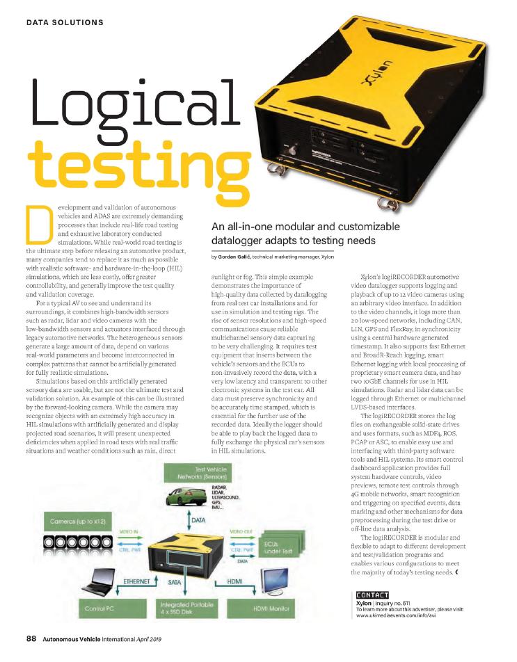 xylon article in autonomous vehicle international magazine